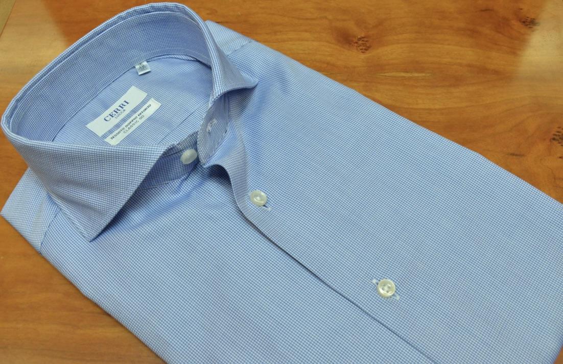 5d9a76f3 blue shirt pure piquè light cotton - Cerri Camiceria