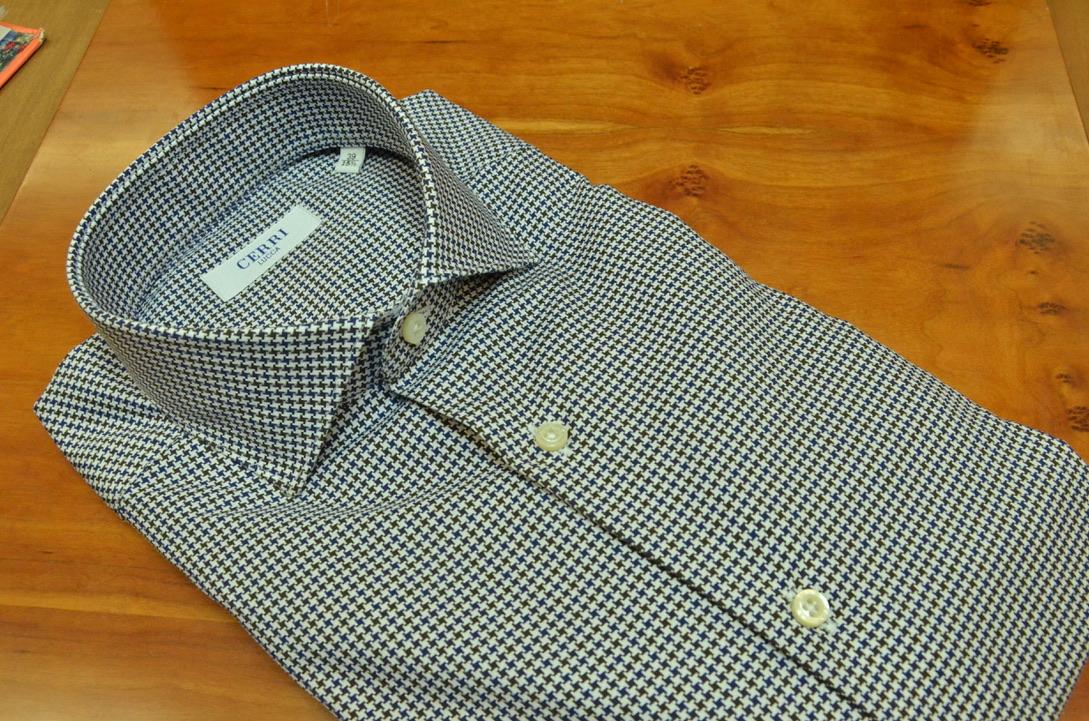 5c580de7 pied de poule shirt blue-brown pure cotton - Cerri Camiceria