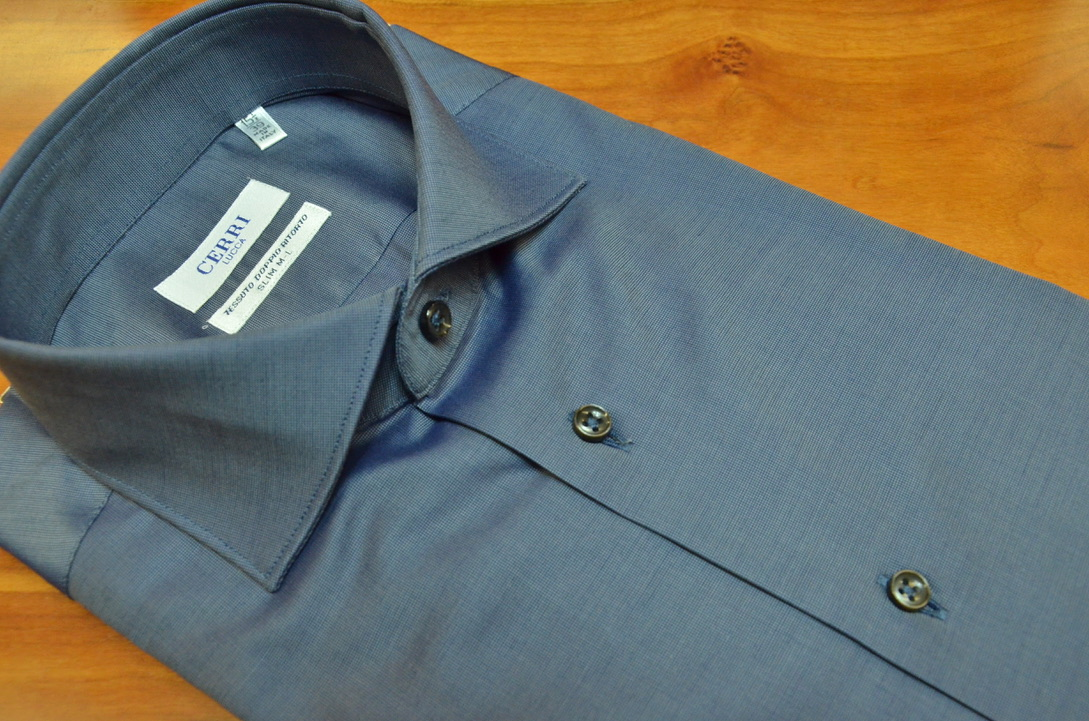 4a9a7c57 Blue shirt in panama cotton two ply - Cerri Camiceria